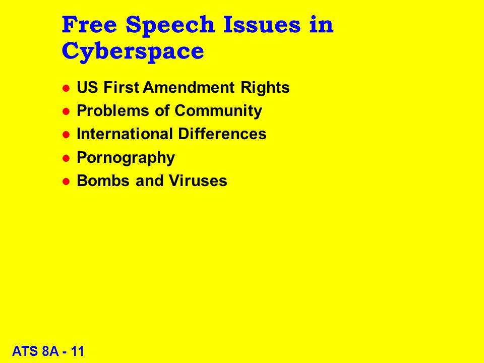 ATS 8A - 11 Free Speech Issues in Cyberspace l US First Amendment Rights l Problems of Community l International Differences l Pornography l Bombs and Viruses