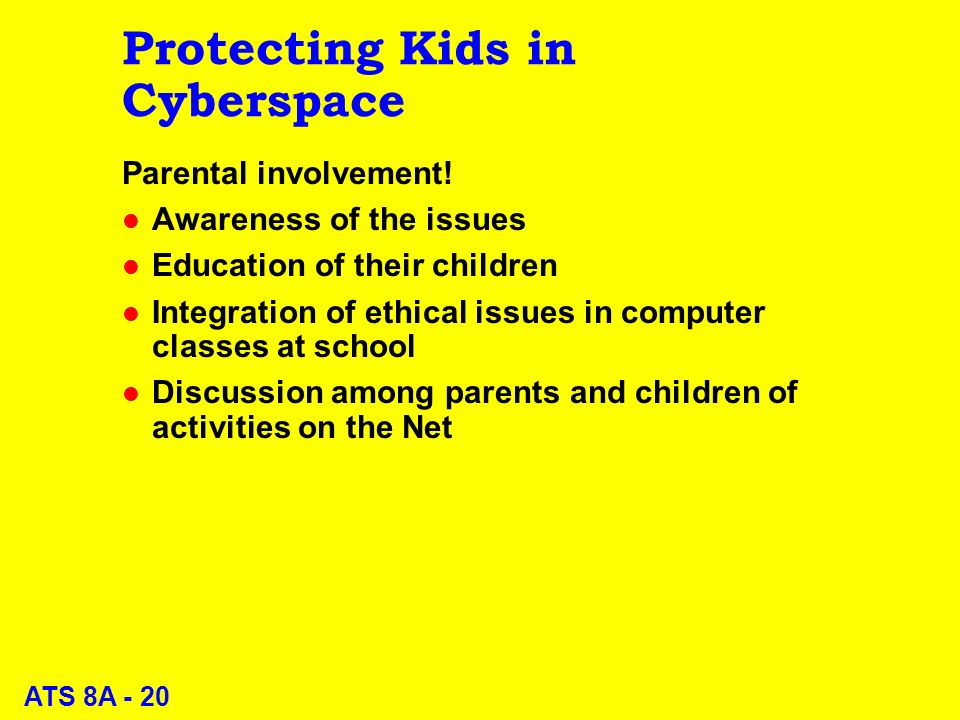 ATS 8A - 20 Protecting Kids in Cyberspace Parental involvement.