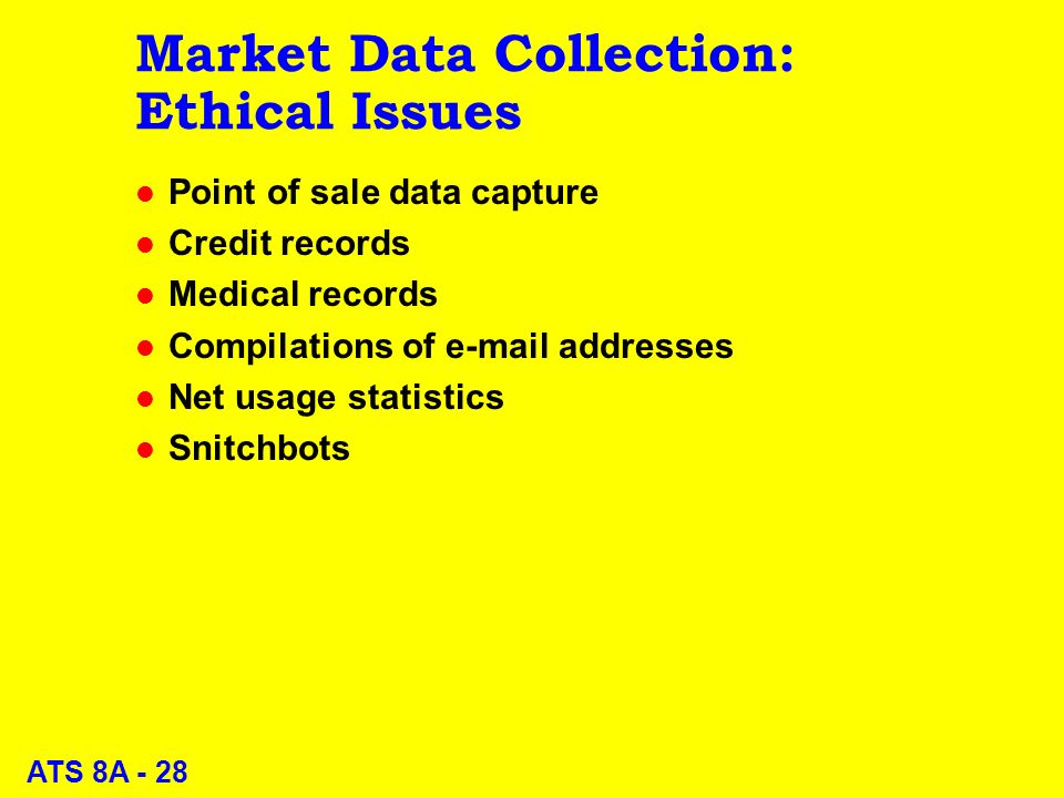 ATS 8A - 28 Market Data Collection: Ethical Issues l Point of sale data capture l Credit records l Medical records l Compilations of  addresses l Net usage statistics l Snitchbots