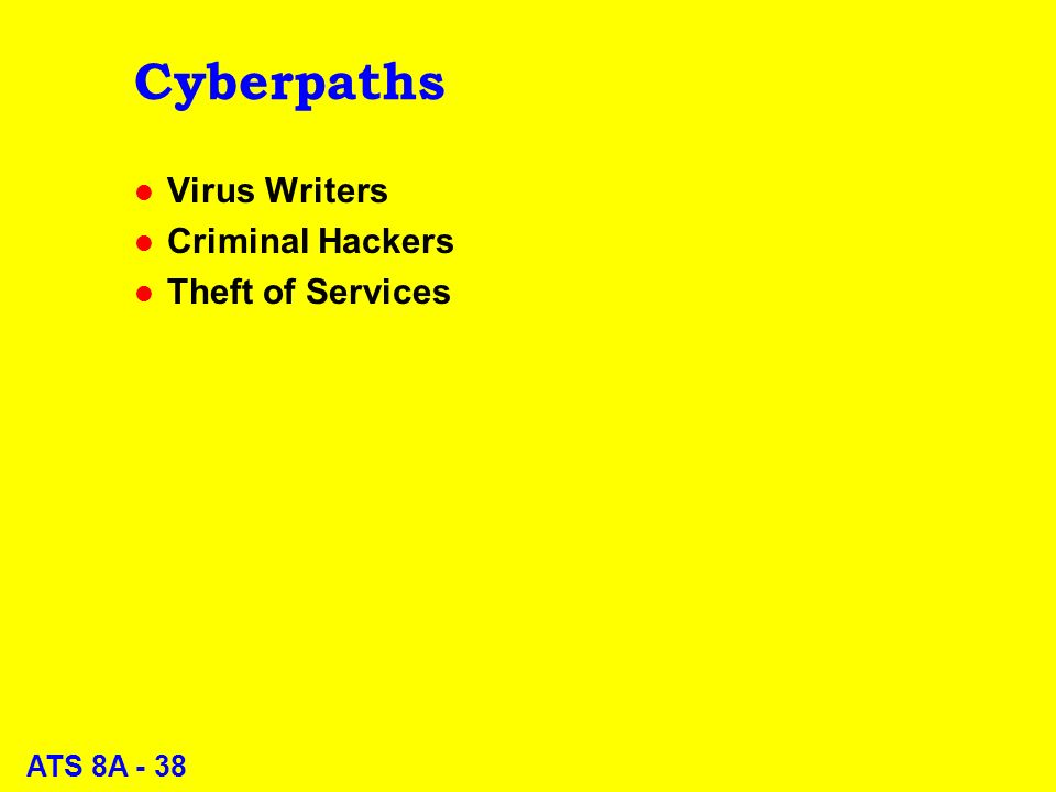 ATS 8A - 38 Cyberpaths l Virus Writers l Criminal Hackers l Theft of Services