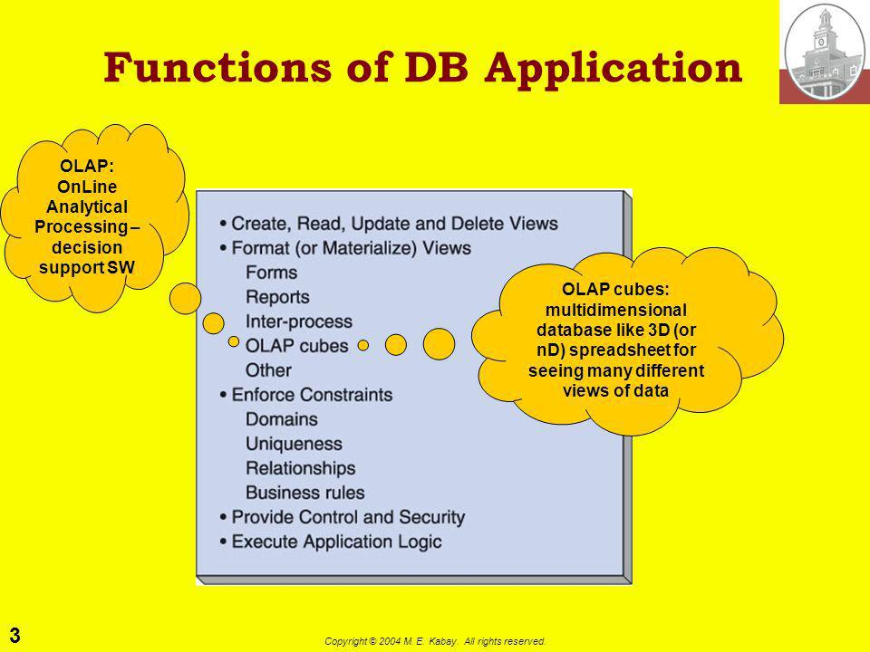 3 Copyright © 2004 M. E. Kabay. All rights reserved. Functions of DB Application OLAP: OnLine Analytical Processing – decision support SW OLAP cubes:
