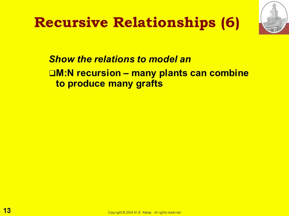 13 Copyright © 2004 M. E. Kabay. All rights reserved. Recursive Relationships (6) Show the relations to model an M:N recursion – many plants can combi