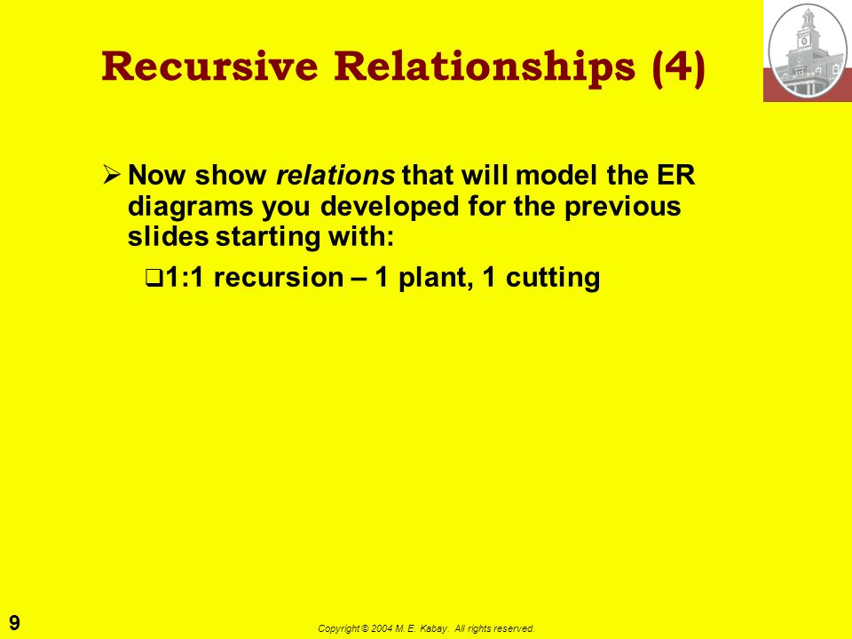 9 Copyright © 2004 M. E. Kabay. All rights reserved. Recursive Relationships (4) Now show relations that will model the ER diagrams you developed for