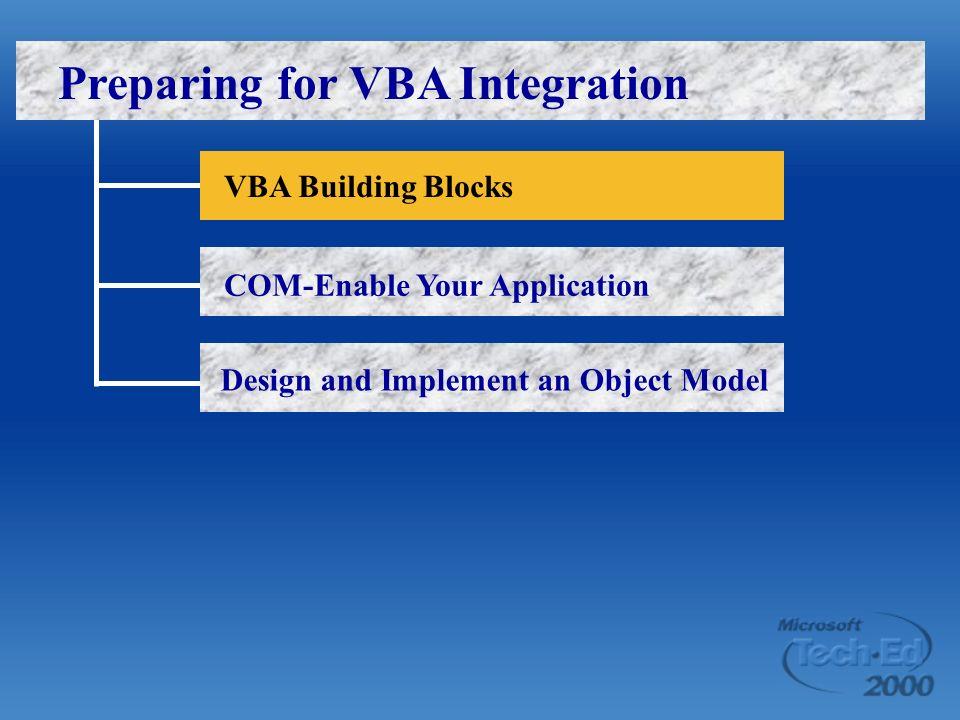 VBA Building Blocks COM-Enable Your Application Design and Implement an Object Model Preparing for VBA Integration