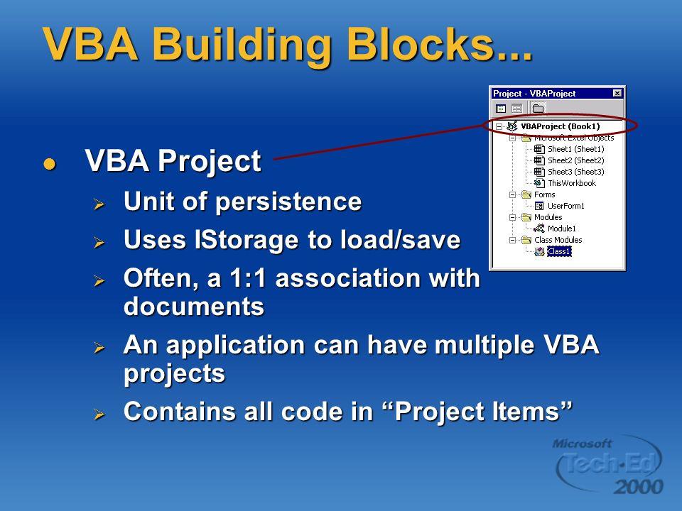 VBA Building Blocks... VBA Project VBA Project Unit of persistence Unit of persistence Uses IStorage to load/save Uses IStorage to load/save Often, a