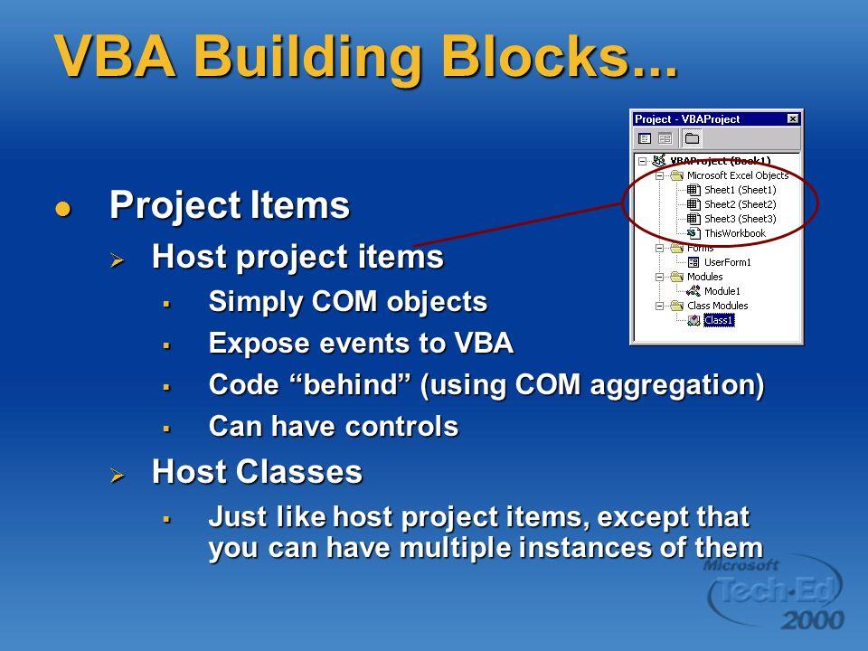 Project Items Project Items Host project items Host project items Simply COM objects Simply COM objects Expose events to VBA Expose events to VBA Code