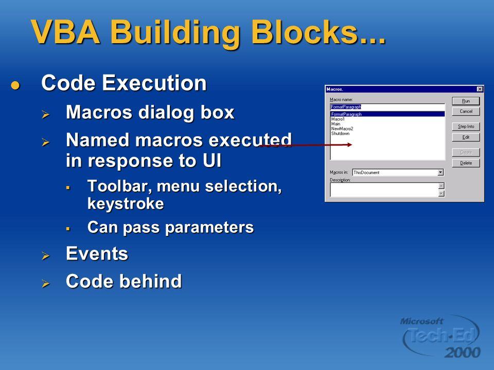VBA Building Blocks... Code Execution Code Execution Macros dialog box Macros dialog box Named macros executed in response to UI Named macros executed