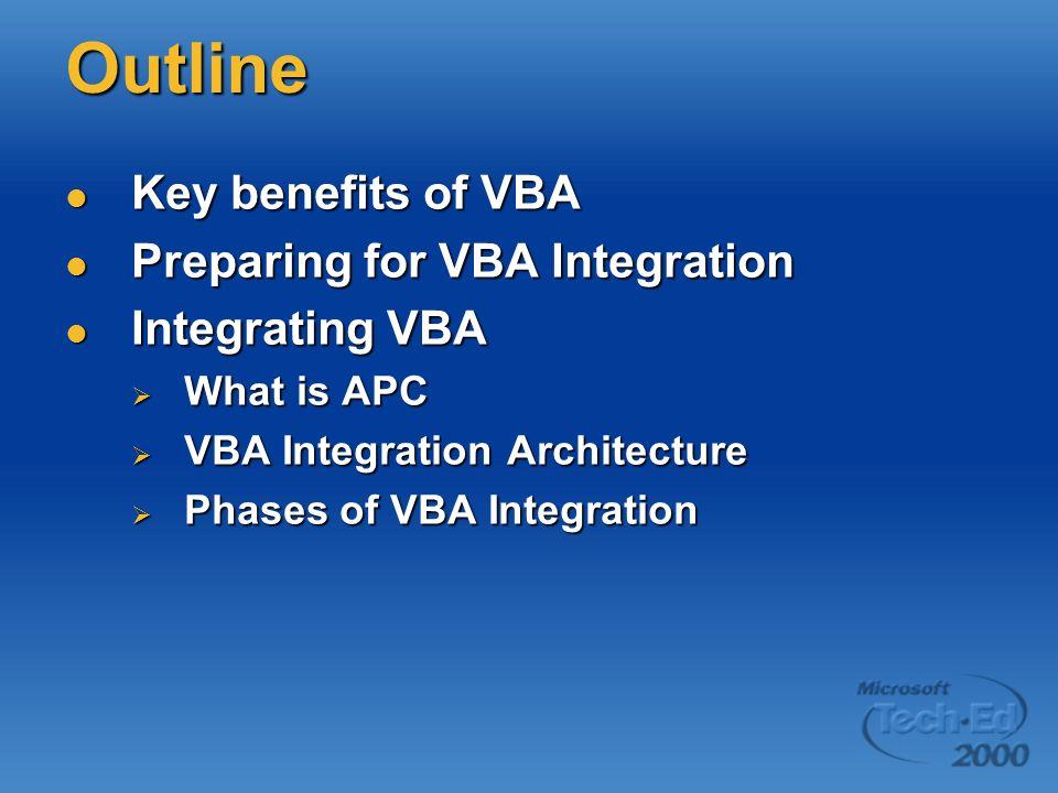 Outline Key benefits of VBA Key benefits of VBA Preparing for VBA Integration Preparing for VBA Integration Integrating VBA Integrating VBA What is AP