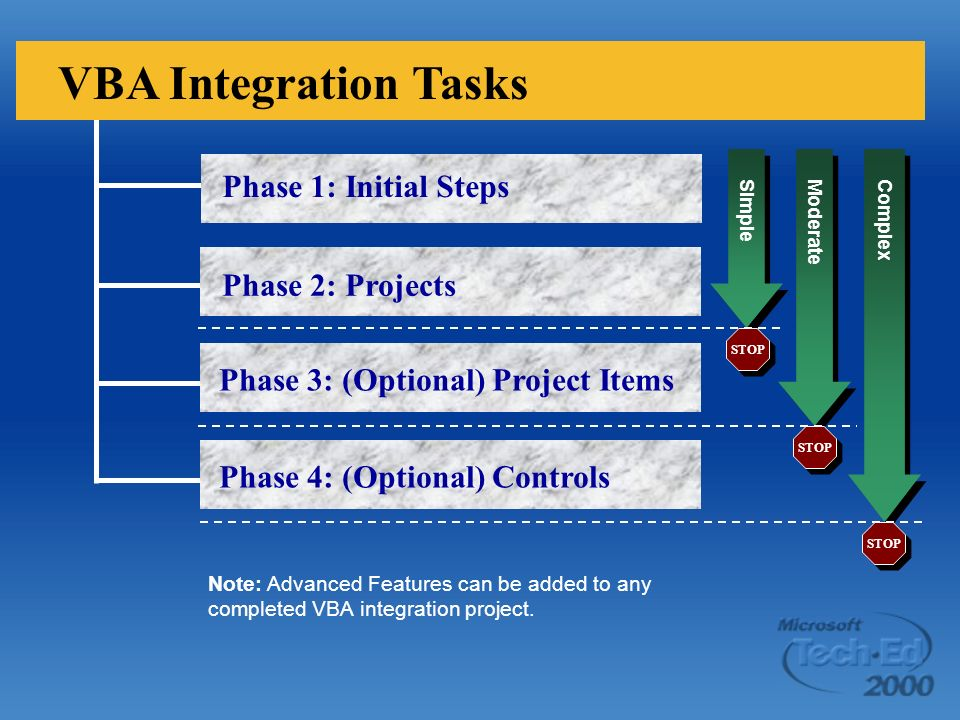 Phase 1: Initial Steps Phase 2: Projects Phase 3: (Optional) Project Items VBA Integration Tasks Phase 4: (Optional) Controls Simple Moderate Complex