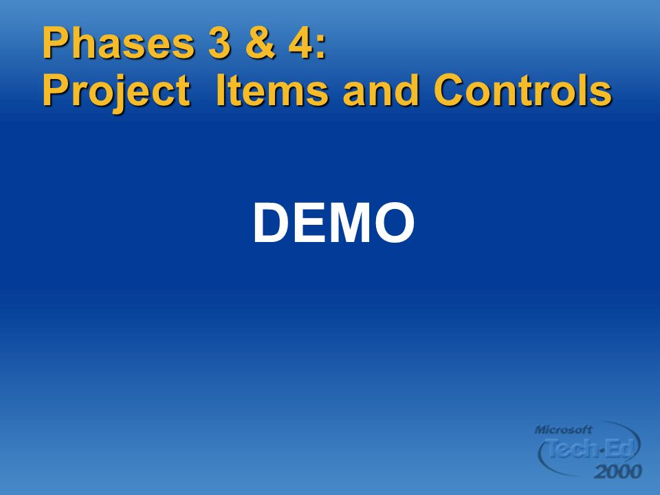 DEMO Phases 3 & 4: Project Items and Controls