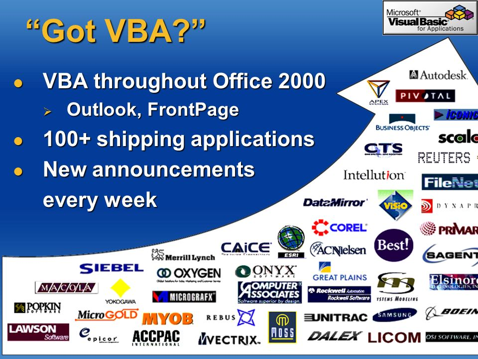 Got VBA? VBA throughout Office 2000 VBA throughout Office 2000 Outlook, FrontPage Outlook, FrontPage 100+ shipping applications 100+ shipping applicat