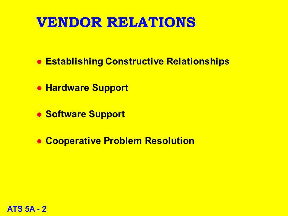 ATS 5A - 2 VENDOR RELATIONS l Establishing Constructive Relationships l Hardware Support l Software Support l Cooperative Problem Resolution