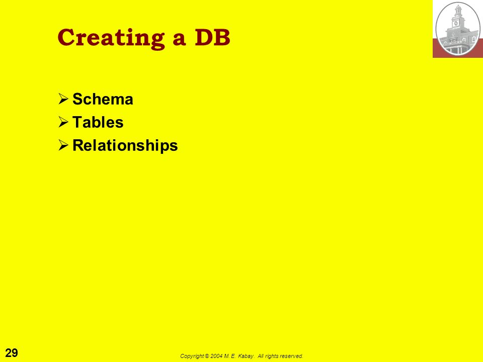29 Copyright © 2004 M. E. Kabay. All rights reserved. Creating a DB Schema Tables Relationships