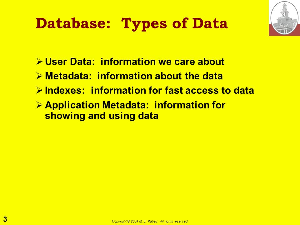 3 Copyright © 2004 M. E. Kabay. All rights reserved. Database: Types of Data User Data: information we care about Metadata: information about the data