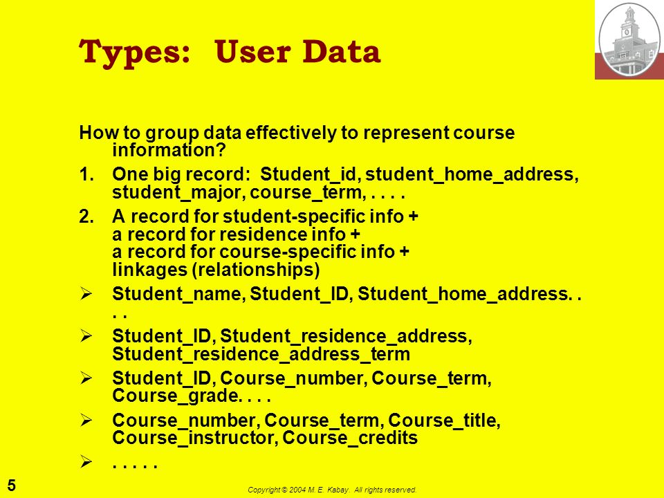 5 Copyright © 2004 M. E. Kabay. All rights reserved. Types: User Data How to group data effectively to represent course information? 1.One big record:
