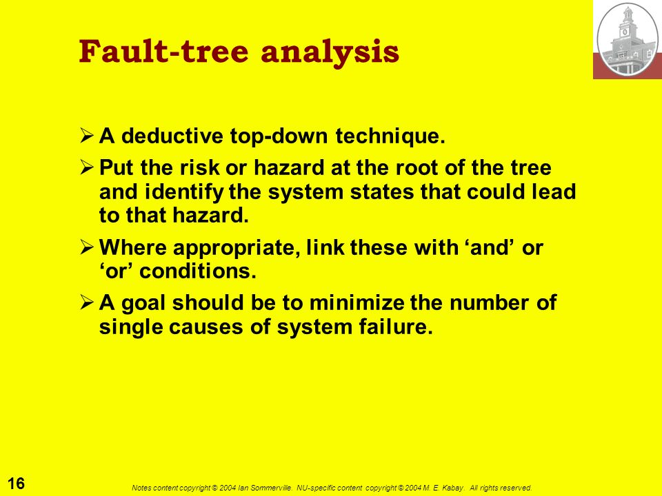 16 Notes content copyright © 2004 Ian Sommerville. NU-specific content copyright © 2004 M. E. Kabay. All rights reserved. Fault-tree analysis A deduct