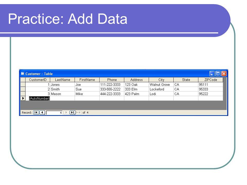 Practice: Add Data