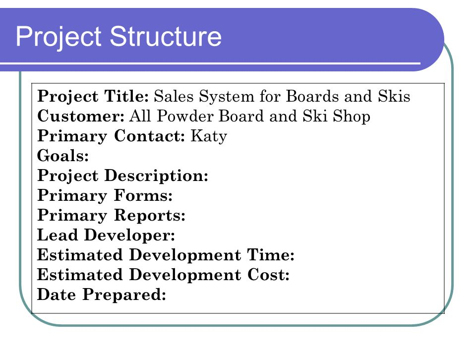 Project Structure Project Title: Sales System for Boards and Skis Customer: All Powder Board and Ski Shop Primary Contact: Katy Goals: Project Descrip