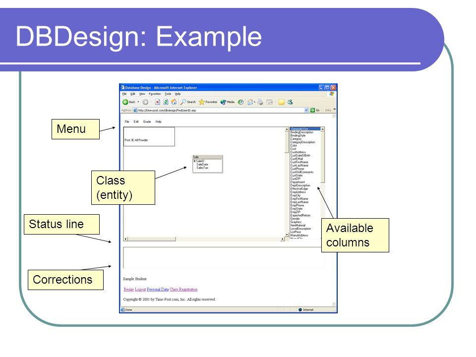 DBDesign: Example Available columns Menu Class (entity) Corrections Status line