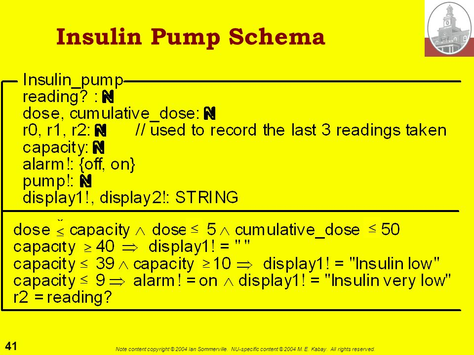 41 Note content copyright © 2004 Ian Sommerville. NU-specific content © 2004 M. E. Kabay. All rights reserved. Insulin Pump Schema