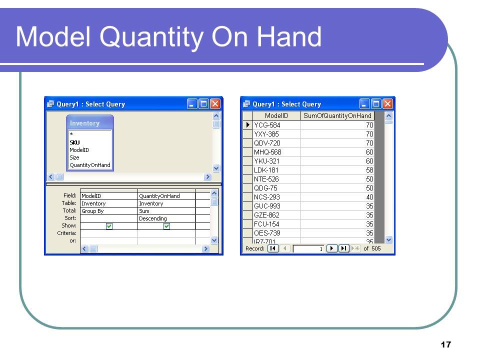 17 Model Quantity On Hand