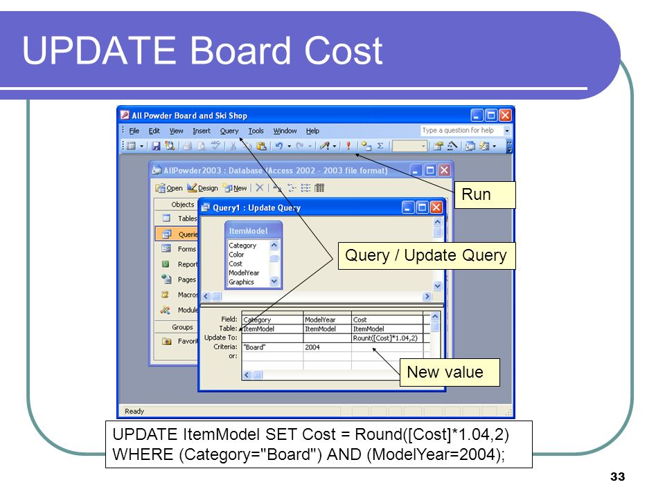 33 UPDATE Board Cost Query / Update Query New value UPDATE ItemModel SET Cost = Round([Cost]*1.04,2) WHERE (Category= Board ) AND (ModelYear=2004); Run