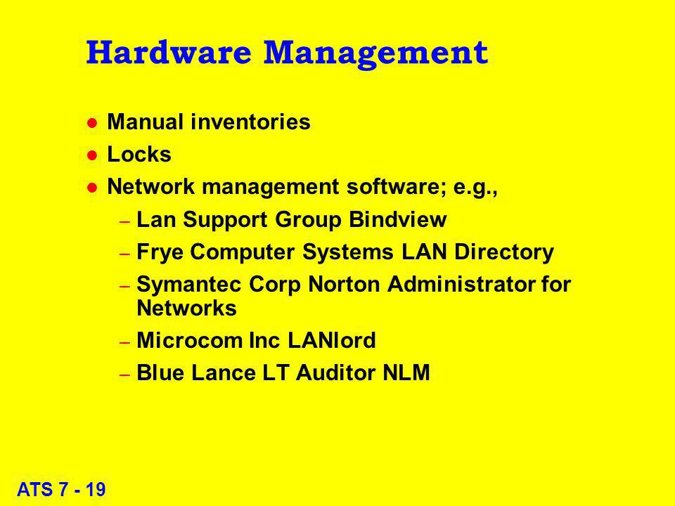 ATS 7 - 19 Hardware Management l Manual inventories l Locks l Network management software; e.g., – Lan Support Group Bindview – Frye Computer Systems