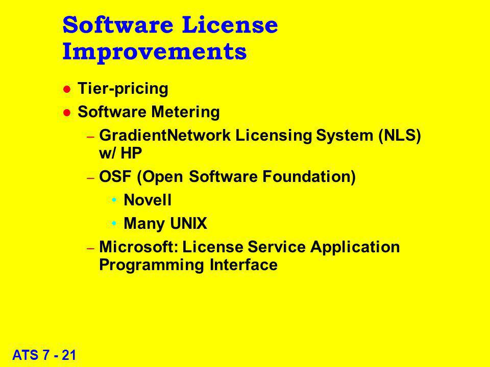 ATS 7 - 21 Software License Improvements l Tier-pricing l Software Metering – GradientNetwork Licensing System (NLS) w/ HP – OSF (Open Software Foundation) Novell Many UNIX – Microsoft: License Service Application Programming Interface