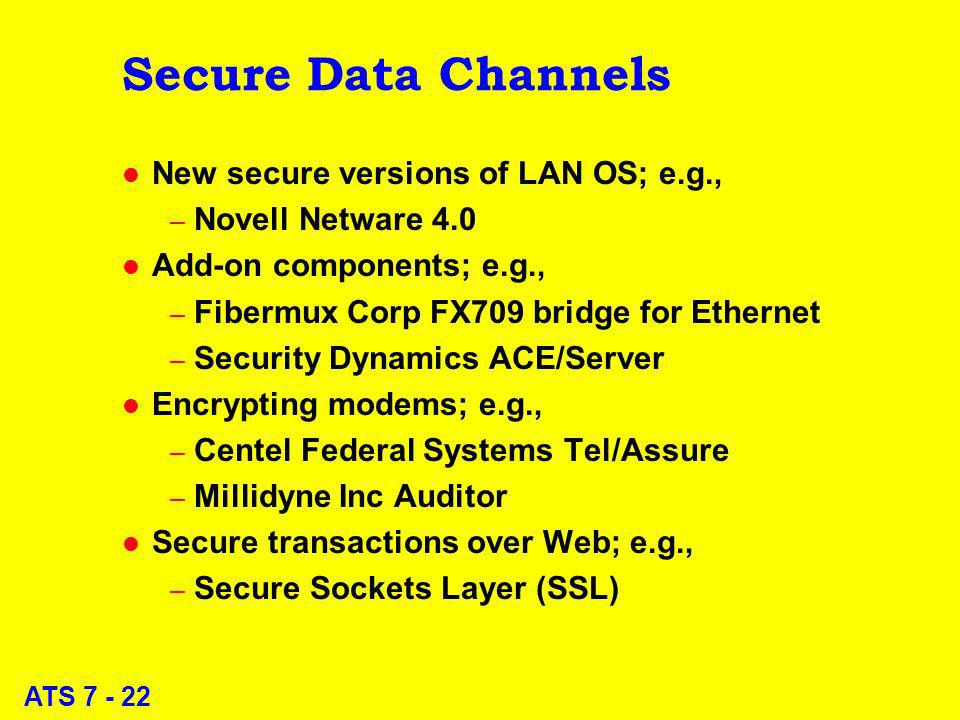 ATS 7 - 22 Secure Data Channels l New secure versions of LAN OS; e.g., – Novell Netware 4.0 l Add-on components; e.g., – Fibermux Corp FX709 bridge fo