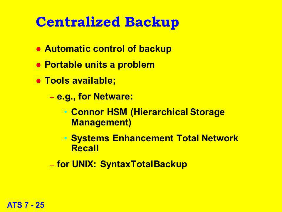 ATS 7 - 25 Centralized Backup l Automatic control of backup l Portable units a problem l Tools available; – e.g., for Netware: Connor HSM (Hierarchical Storage Management) Systems Enhancement Total Network Recall – for UNIX: SyntaxTotalBackup