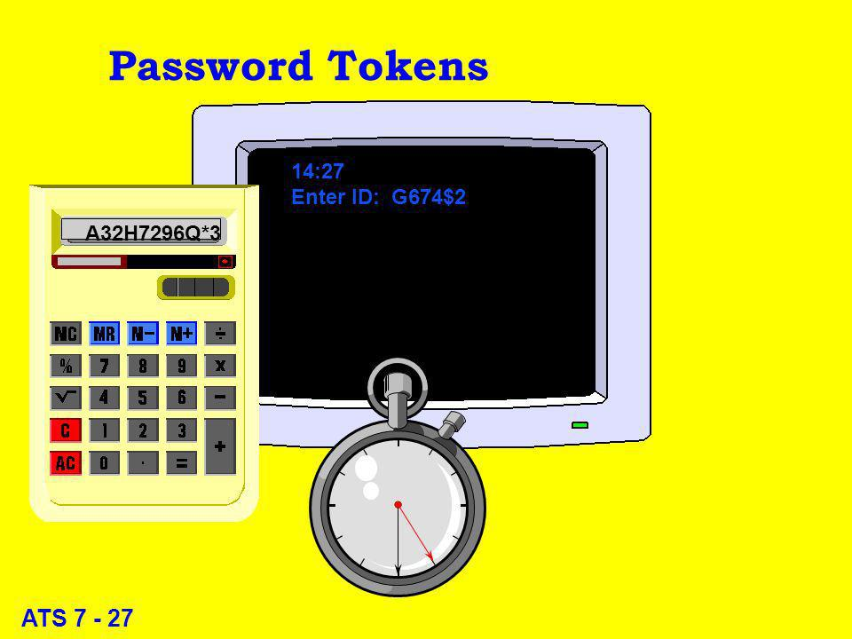 ATS 7 - 27 Password Tokens 14:27 Enter ID: G674$2 A32H7296Q*3