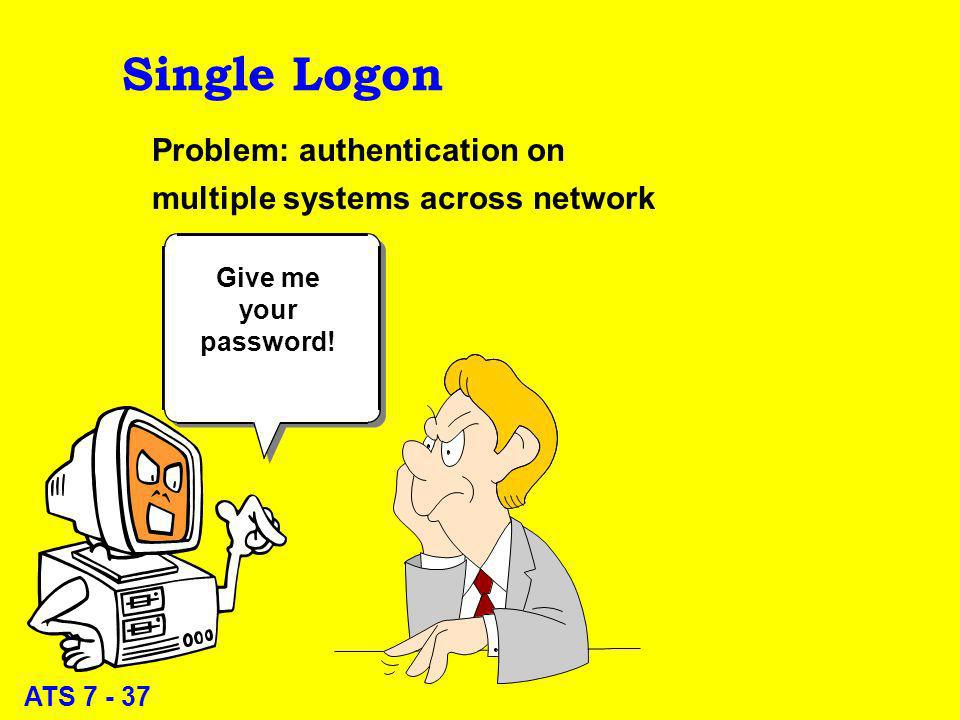 ATS 7 - 37 Single Logon Problem: authentication on multiple systems across network Give me your password!