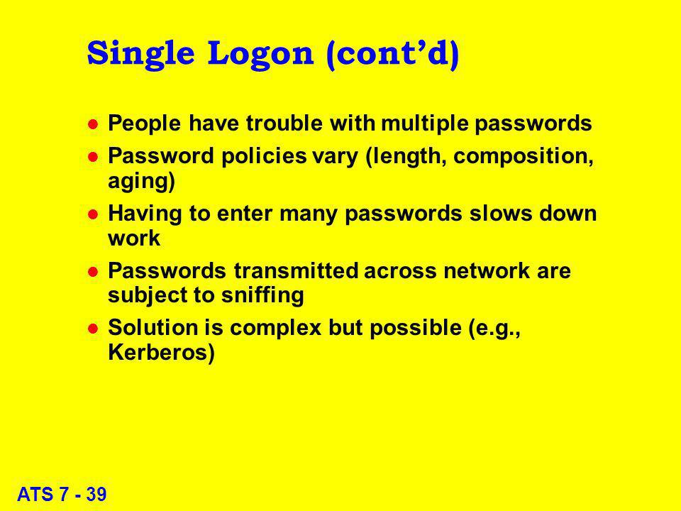 ATS 7 - 39 Single Logon (contd) l People have trouble with multiple passwords l Password policies vary (length, composition, aging) l Having to enter many passwords slows down work l Passwords transmitted across network are subject to sniffing l Solution is complex but possible (e.g., Kerberos)