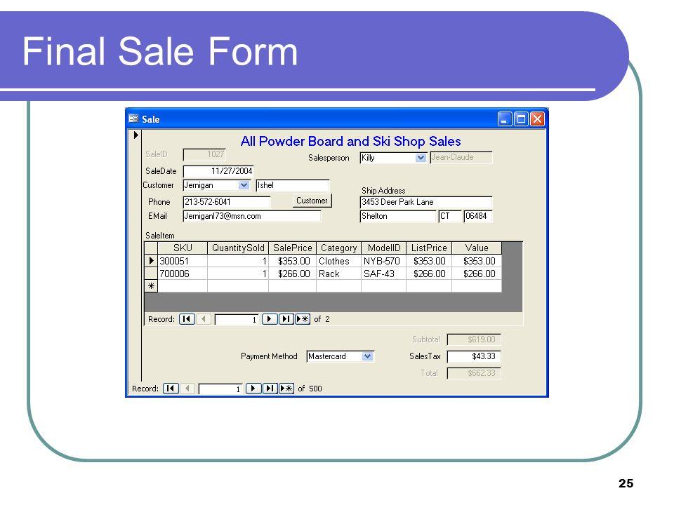 25 Final Sale Form