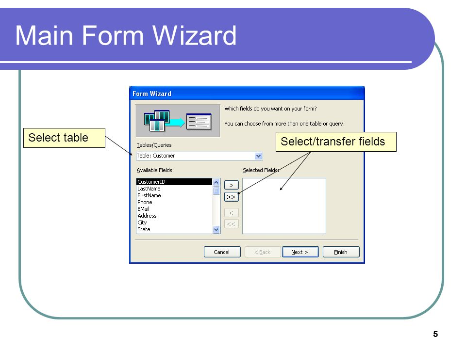 5 Main Form Wizard Select table Select/transfer fields