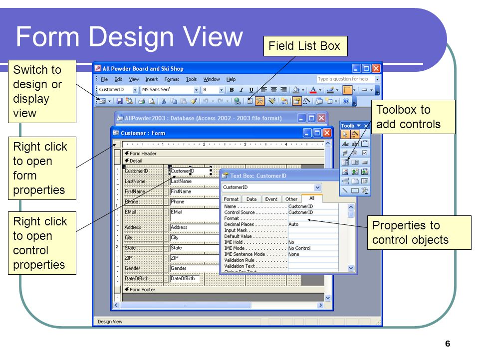 6 Form Design View Toolbox to add controls Properties to control objects Right click to open control properties Right click to open form properties Sw