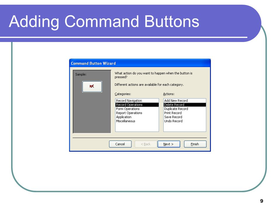 9 Adding Command Buttons