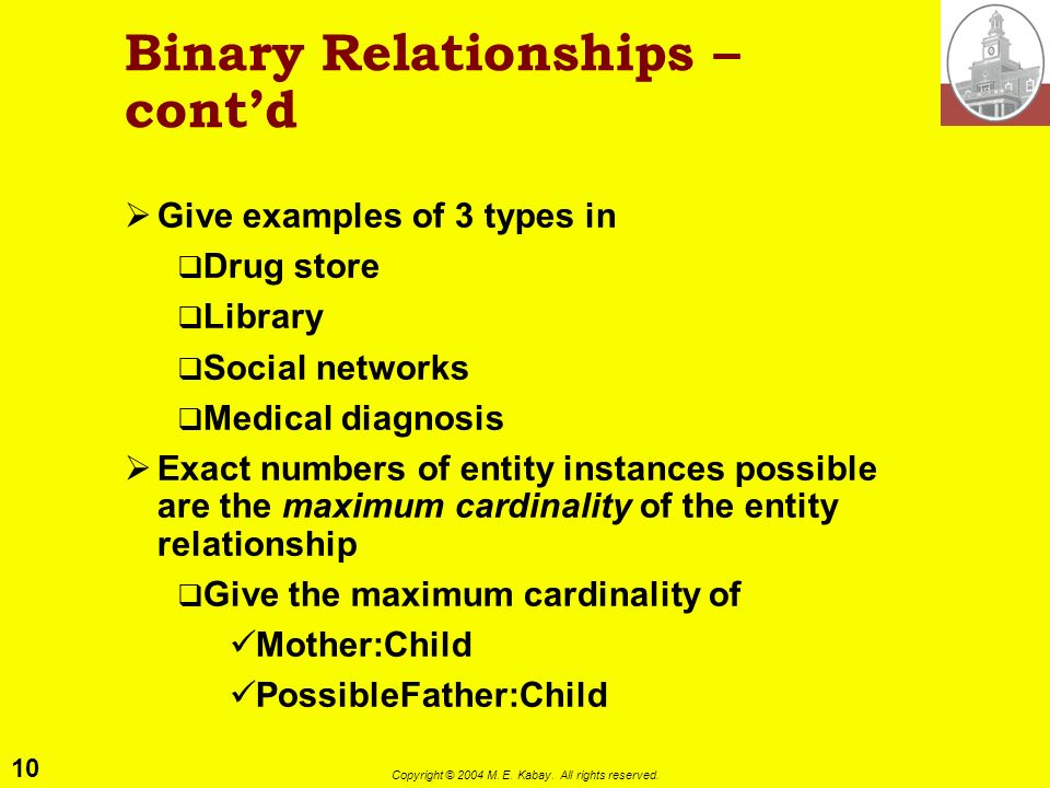10 Copyright © 2004 M. E. Kabay. All rights reserved. Binary Relationships – contd Give examples of 3 types in Drug store Library Social networks Medi