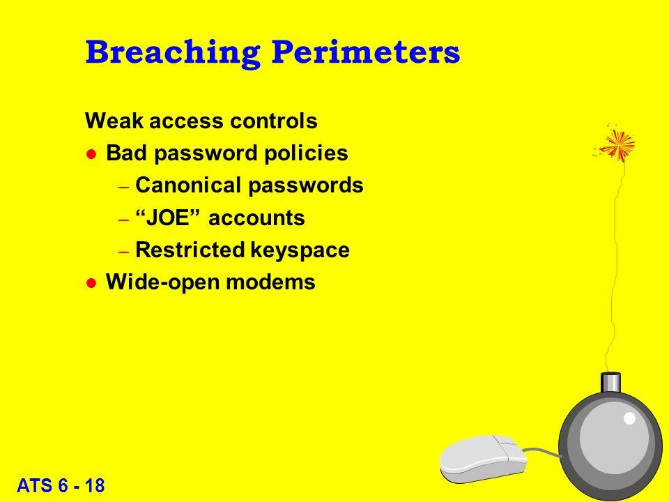 ATS 6 - 17 Breaching Perimeters Eavesdropping l Surveillance equipment l Wiretaps l LAN sniffers l Internet sniffers l Trojan login programs 17