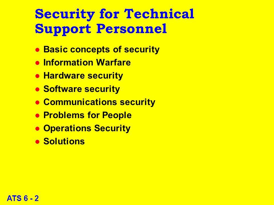 ATS 6 - 1 The Art of Tech Support John Abbott College InfoSec for Tech Support -- Part 1 M.