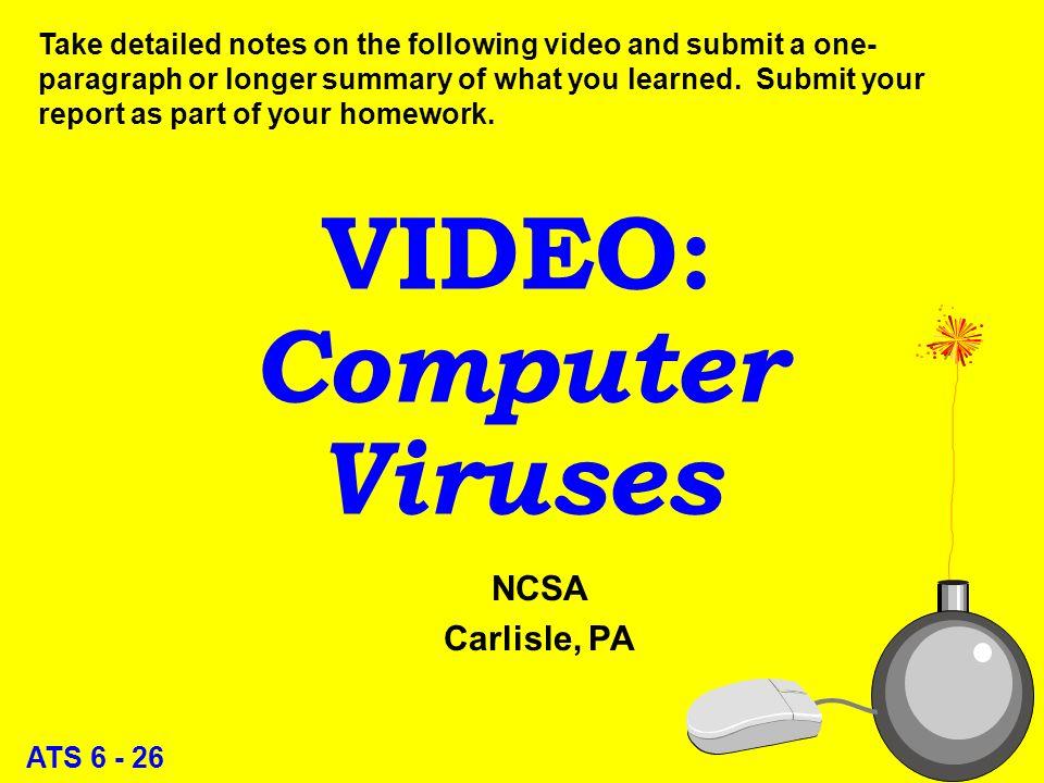 ATS 6 - 25 Viruses l Boot sector l Program infectors l Macro 25