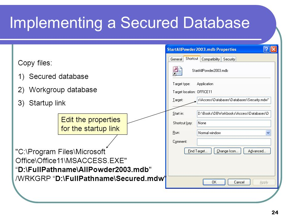 24 Implementing a Secured Database Copy files: 1)Secured database 2)Workgroup database 3)Startup link Edit the properties for the startup link C:\Program Files\Microsoft Office\Office11\MSACCESS.EXE D:\FullPathname\AllPowder2003.mdb /WRKGRP D:\FullPathname\Secured.mdw