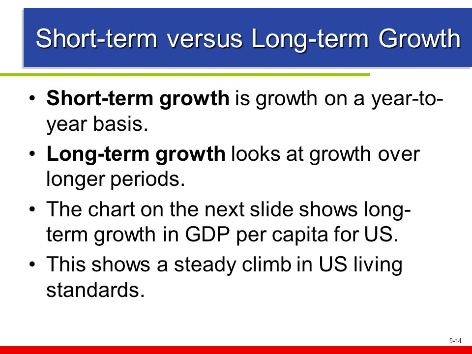 9-14 Short-term versus Long-term Growth Short-term growth is growth on a year-to- year basis. Long-term growth looks at growth over longer periods. Th
