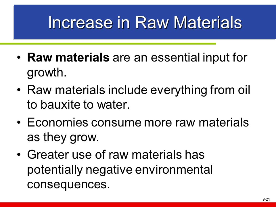 9-21 Increase in Raw Materials Raw materials are an essential input for growth. Raw materials include everything from oil to bauxite to water. Economi