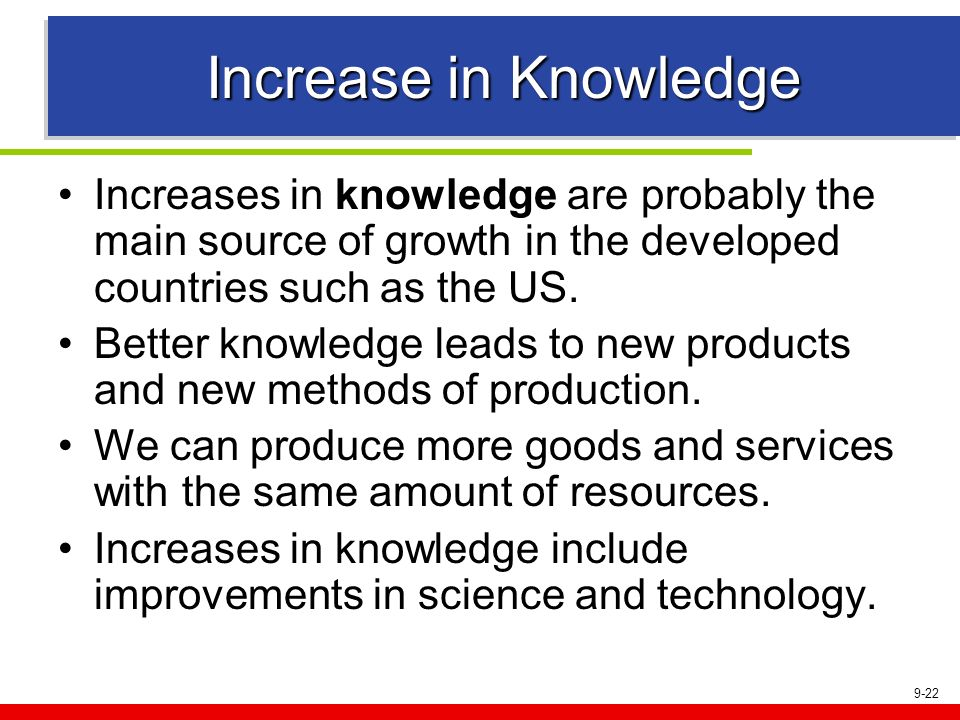 9-22 Increase in Knowledge Increases in knowledge are probably the main source of growth in the developed countries such as the US. Better knowledge l