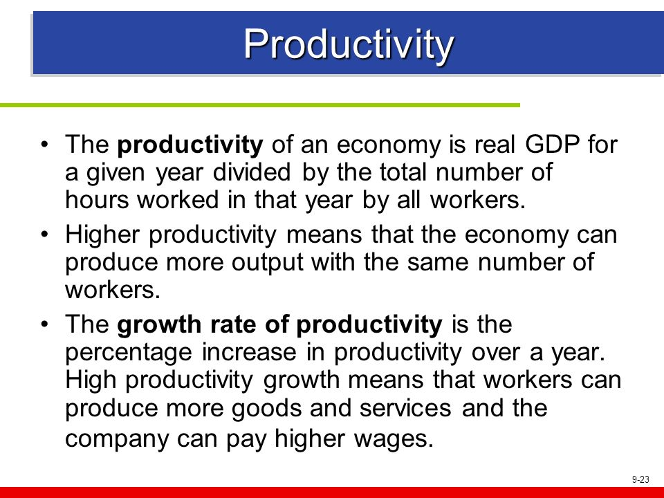 9-23 Productivity The productivity of an economy is real GDP for a given year divided by the total number of hours worked in that year by all workers.