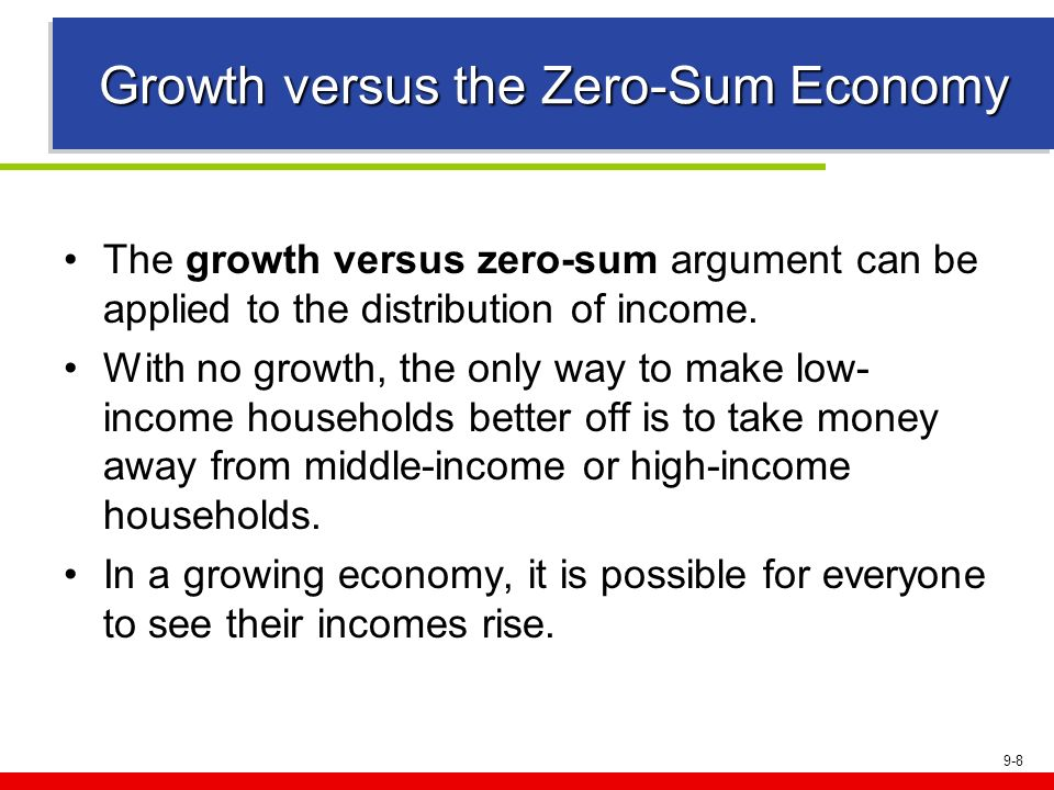 9-8 Growth versus the Zero-Sum Economy The growth versus zero-sum argument can be applied to the distribution of income. With no growth, the only way