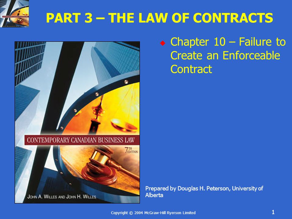 Copyright © 2004 McGraw-Hill Ryerson Limited 2 FAILURE TO CREATE AN ENFORCEABLE CONTRACT Mistake Misrepresentation Undue Influence Duress
