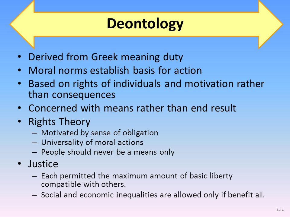 1-14 Deontology Derived from Greek meaning duty Moral norms establish basis for action Based on rights of individuals and motivation rather than conse