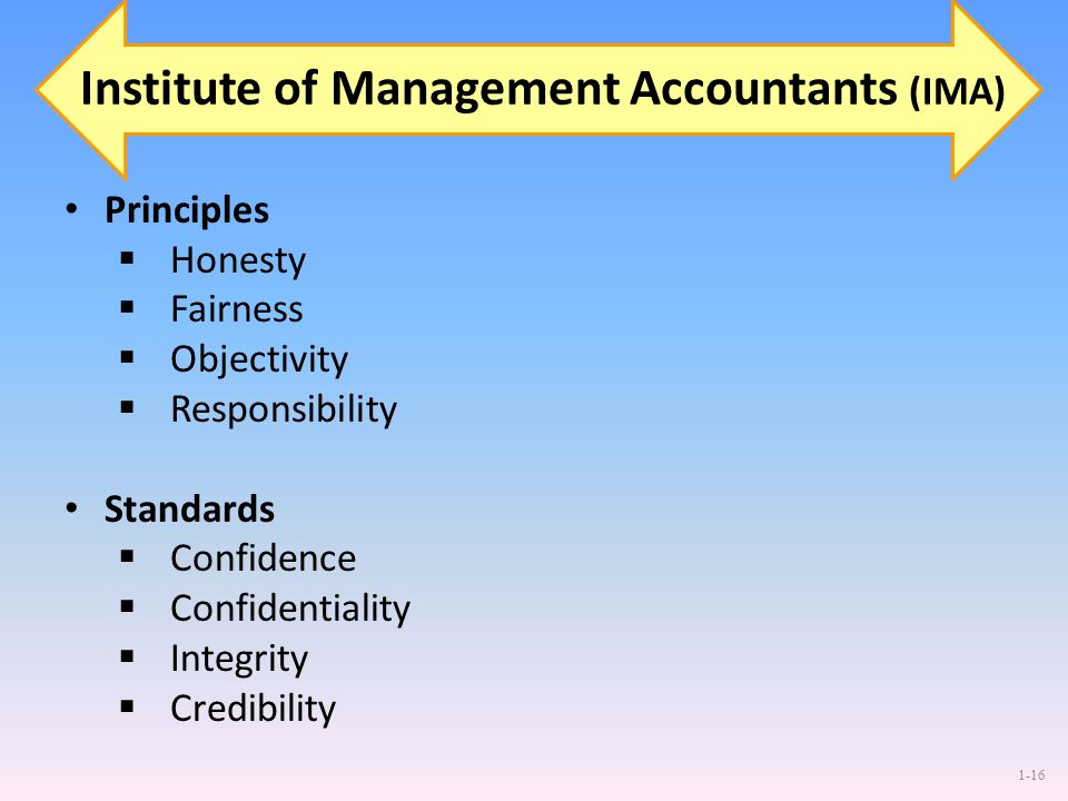1-16 Institute of Management Accountants (IMA) Principles Honesty Fairness Objectivity Responsibility Standards Confidence Confidentiality Integrity C